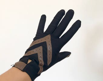 Vintage Driving Gloves | Womens Black/Brown Leather Stretch Driving Gloves | Fitted Snug Aris Isotoner Gloves
