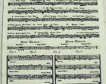 Sheet music paper napkin measures on cream background