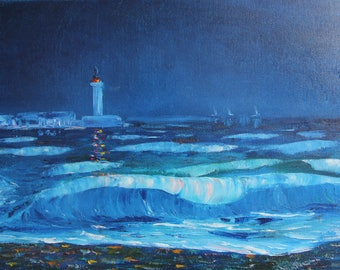 The lighthouse in the dark sea Emotional oil painting Canvas landscape Original drawing Wall art Present for a strong person