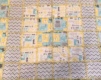 You Are My Sunshine baby flannel rag quilt