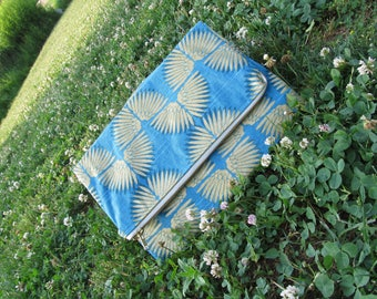 Abstract Gold Feather Fold Over Clutch