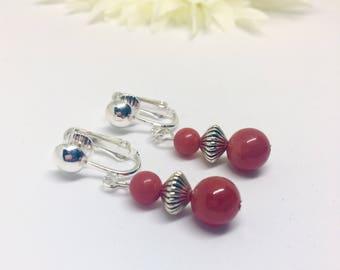 Coral Earrings, Gemstone beaded Earrings, Red Earrings, Red Silver Earrings, Dangle Clip On, Gift For Her, Wife Gift, Silver Earrings