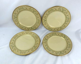 Gorham Lorenzo de Medici Bread & Butter Plates Set Of 4 (Green and Gold)