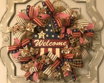 4th of july wreath. Fourth of July. Patriotic wreath. Summer wreath. Front door wreath. Ready to ship. Burlap wreath. Fourth of July wreath