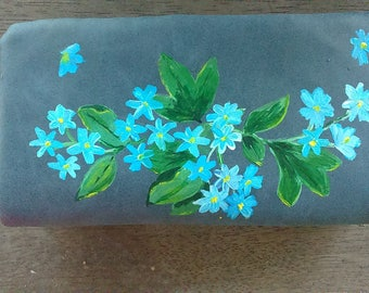 New wallet blue flowers