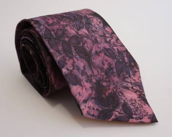 """Tie jewelry necklace made of silk handpainted purple plum """"Sous Bois"""""""