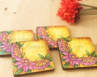 Wooden Coasters - Floral hand deisgn coasters - 4*4 inches Square Wooden Coaters - 4pcs in 1 Set Coasters