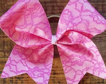 "3"" Pink Lace-Cheer Bow-Breast Cancer Bow"