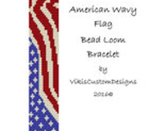American Wavy Flag Bead Loom Bracelet Pattern by VikisCustomDesigns