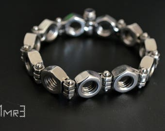 Stainless steel hex nut bracelet, hand made