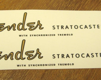 Fender Stratocaster Headstock Decal Set for 1954 - 64 Strat Waterslide Decals Vintage Guitar Parts