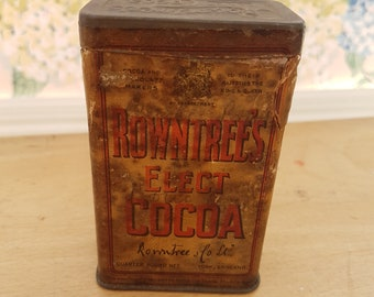 Vintage Rowntree's Elect Cocoa Powder tin, Rowntree's of York, Antique