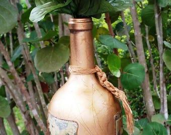 Old Fashion European Decoupage wine bottle