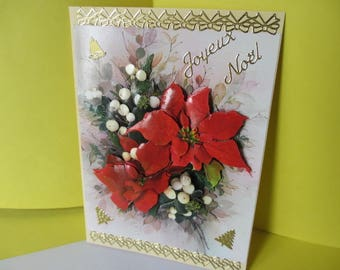 Bouquet of poinsettias and mistletoe (embossed) 3D card