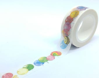 Washi Tape gourmet lollipops and bees 10Mx15mm pastel patterns