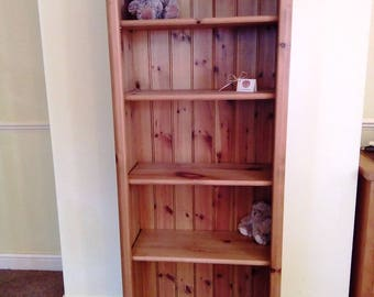 Solid Pine Bookcase, Chunky Farmhouse Country Rustic Style Shelves Storage