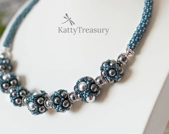 Swarovsky Pearls beaded necklace, Seed Bead Necklace, Blue necklace, Statement necklace, Gifts for her, Wedding jewelry, Unique