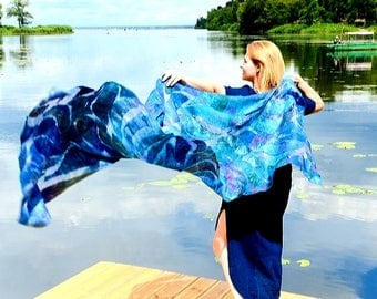 Silk and wool felted shawl -Wings of Isis-Blue nunofelted shawl-Wool shawl-Silk scarf-Art shawl