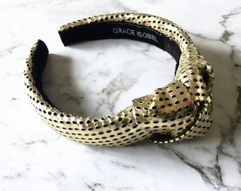 Leather headband, leather turban, turban, gold leather, leather, headband, gold turban,