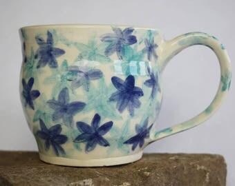 Handmade  Pottery Floral Mug