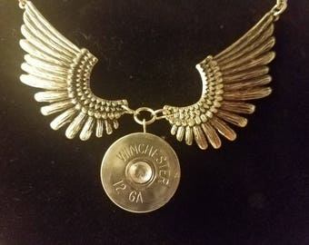 Silver 12 Gauge Shotgun Shell w/ Silver Wings Necklace