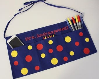Personalized Primary Colored Polkadot Teacher Apron