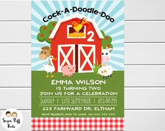 Barnyard Birthday Invitation, Farmyard Birthday Invitation, Barnyard Animals Birthday Invitation, Farm Animals Party Invitation, Farm theme