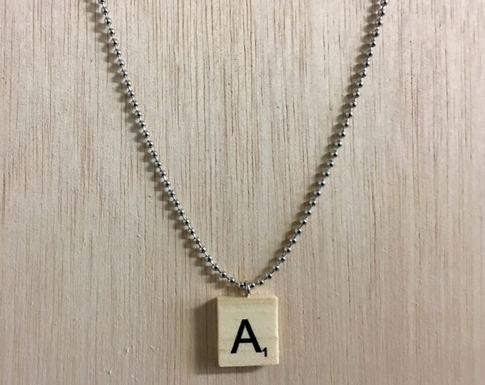 "Featured listing image: Handmade Wooden Scrabble Tile Necklace with 24"" Adjustable Bead Chain!"