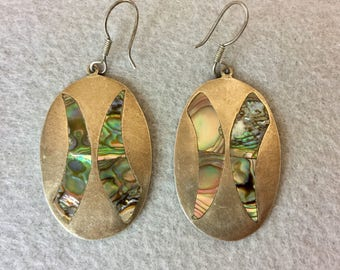 Vintage Sterling Silver and Abalone Earrings~ Rustic Mexican Design *