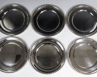 6 Finest Quality Tiffany & Co Heavy Sterling Silver Chargers or Service Plates