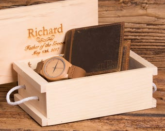 Personalized Watch and Wallet, Groomsmen, Father of the Bride, Usher, Christmas, Gifts for Him, Grandfather, Watch Box, Fathers Day MW1&ZB27