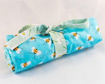 Blue Bumblebee/Daisy/Green Spot Print Makeup Brush Roll/Holder/Organiser