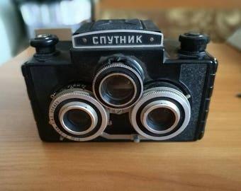 Soviet Camera. Twin Lens. Reflex. Stereo Film Camera. LOMO TLR  6x6cm Sputnik