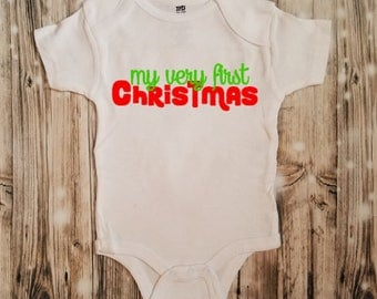 My Very First Christmas Baby Bodysuit - Baby's First Christmas Outfit- First Christmas - Baby's First Merry Christmas Clothing