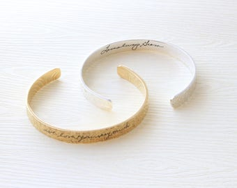 Hammered Bracelet - Engraved Cuff Bangle - Engraved Bracelet - Signature Bracelet - Handwriting Cuff Bangle - Mother's Days - Christmas Gift