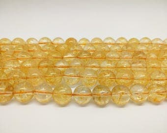 Natural Citrine Beads Gemstone Beads Yellow Citrine Yellow Beads Citrine Crystal Beads for Jewelry Making Beads Bracelet Beads Necklace Bead