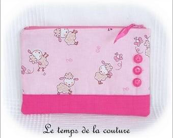 Handmade flat - zipper pouch - pink and fuchsia - pouch.