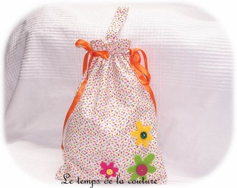Bag child pouch blankie or taste - shades of white, lime, pink, red, grey and orange - handmade