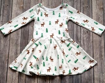 Reindeer Dress. Winter Dress. Christmas Dress. Rudolph Dress. Baby Dress. Toddler Dress. Twirl Dress. Twirly Dress. Baby Christmas Dress.