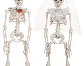 Halloween Decor Skeleton Bride and Groom Set