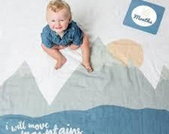 """Lulujo Baby's First Year """"I Will Move Mountains"""" 100% Cotton Muslin Blanket & 14 Milestone Cards Set"""