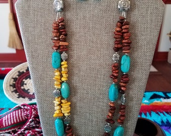 Turquoise,Brown and Yellow magnesite nuggets
