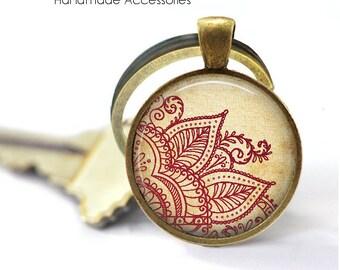 Henna Mandala Key Ring • Henna Flower • Hindu Om • Buddhist Symbol • Meditation • Wedding Mandala • Gift Under 20 • Made in Australia (K492)