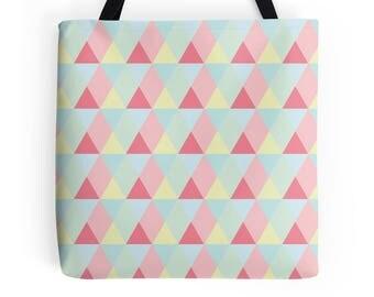 Lunch bag, Tote Bag, pastel bag, pink geometric, geometric, pink triangles, tote shopper, shopping bag, pink shopping bag, pink bag, pastels