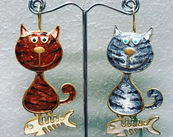 Brass earrings with Cats and enamel