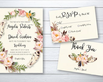 Wedding Invitation Printable Peach Blush Boho Flowers Digital Wedding Watercolor Invitation Bohemian Wedding Invite WS-004