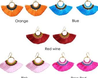 boho tassel earrings, fringer earrings