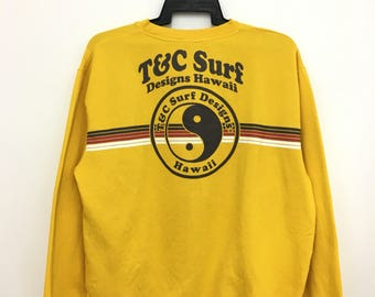 On Sale T&C Surf Designs Hawaii Sweatshirt Jumper Big Logo LL Size Yellow Color