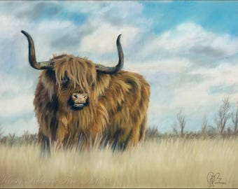 Highland Cow Wildlife High Quality Print Drawing Pastel Painting