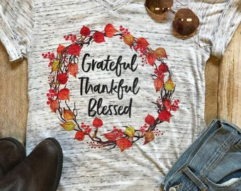Grateful Thankful Blessed Shirt Fall Shirt Thanksgiving Shirt Mom Shirt Trendy Shirt Fall Birthday Gift Boho Tee Autumn T shirt Mother Shirt